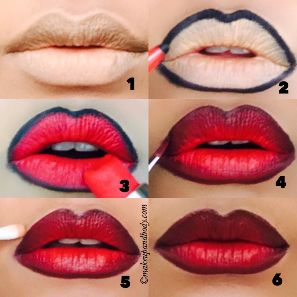 Вечерний макияж губ пошаговое фото