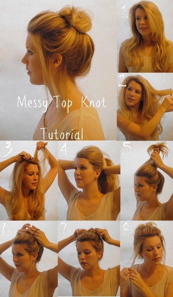 messy top knot bun