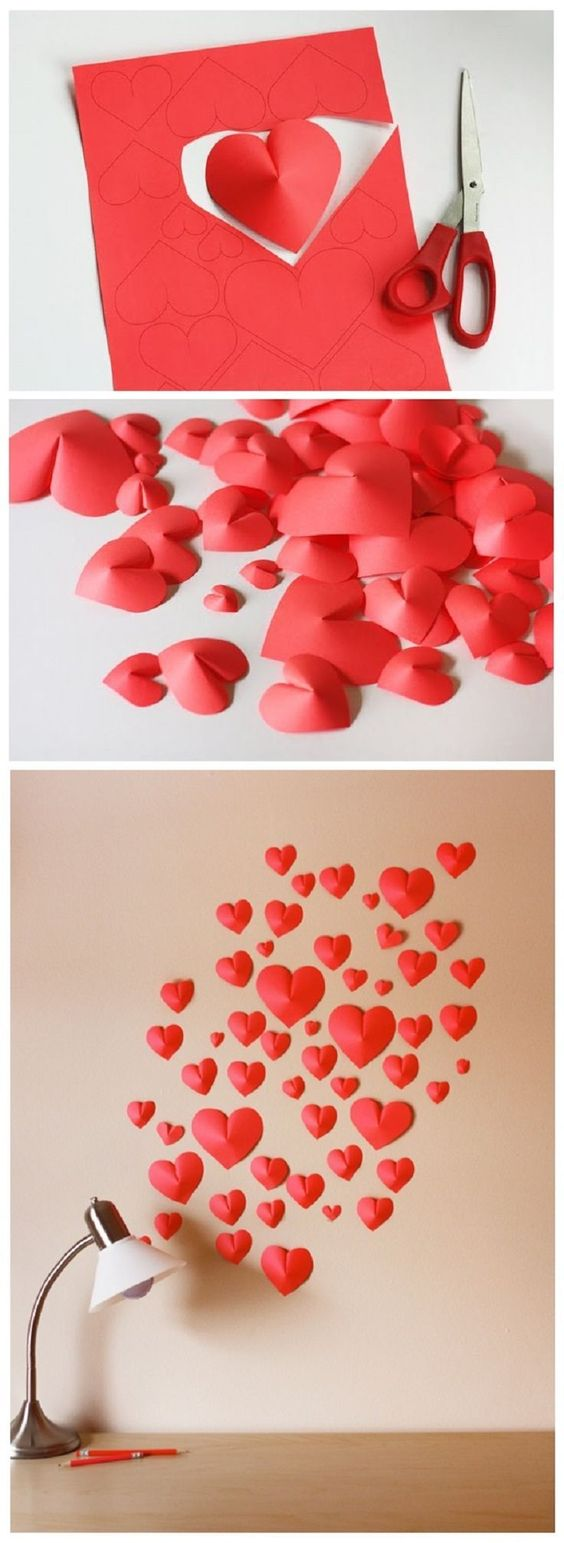 Wall Decoration With Paper Hearts : Unique and easy diy ideas for valentine s day makeup