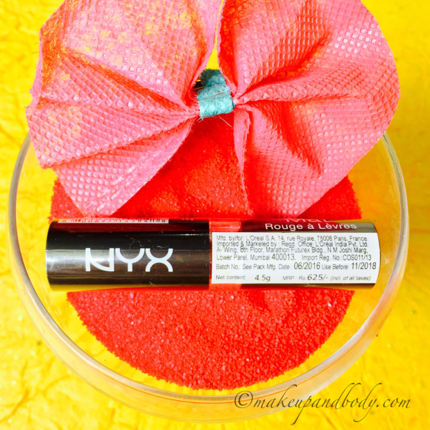 NYX Matte Lipstick in Bloody Mary Swatches and Review