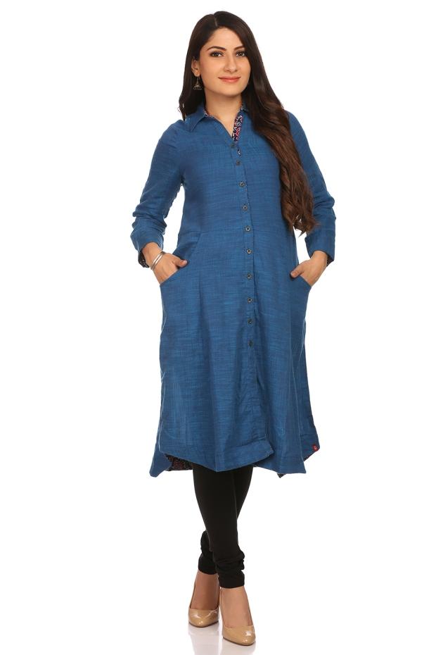 indigo-a-line-cotton-kurta