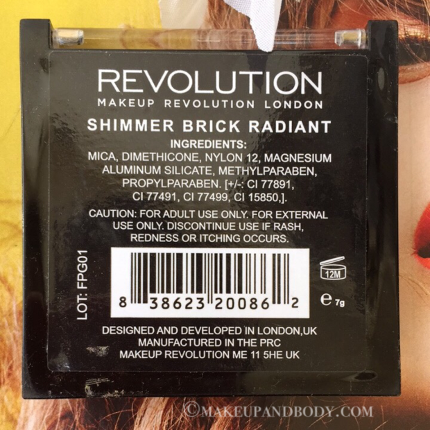Makeup Revolution Vivid Shimmer Brick Radiant Review And Swatches